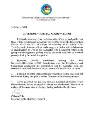 Delta State Government exempts NECO candidates from curfew