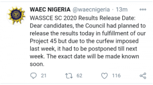 WAEC gives update on the release of May/June 2020 result