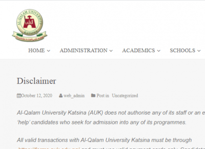 Al-Qalam University Katsina admission disclaimer notice