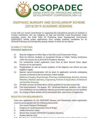 OSOPADEC Bursary and Scholarship Scheme for students admitted in 2018/2019 session