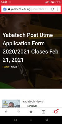 YABATECH Post-UTME application for 2020/2021 closes Feb .21st