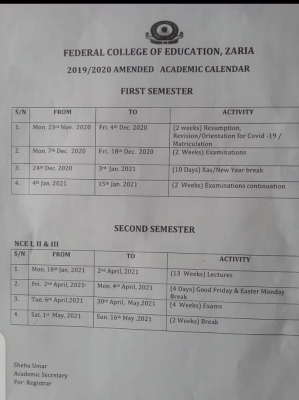 FCE Zaria amended academic calendar for 2019/2020-academic-session