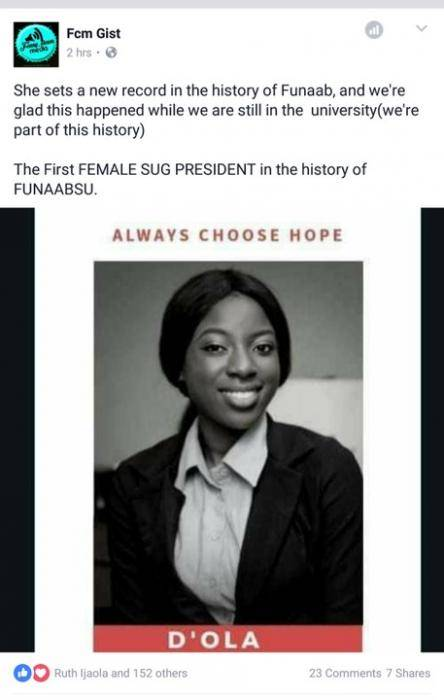 First Female SUG President in FUNAAB!!! - Record Set