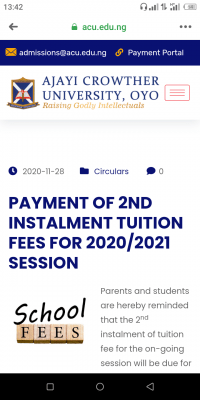 Ajayi Crowther notice on payment of 2nd instalment  tuition for 2020/2021 session