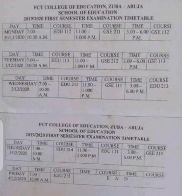 FCE Zuba 1st semester examination timetable for 2019/2020 session