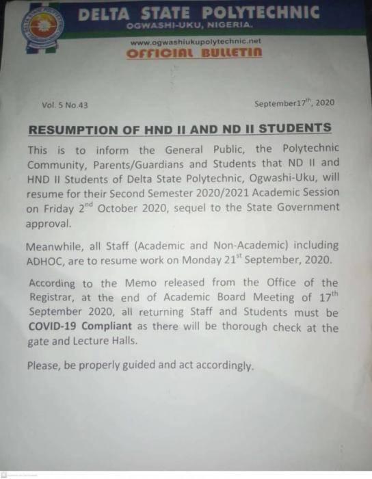 Delta State Poly Ogwashiuku announces resumption date