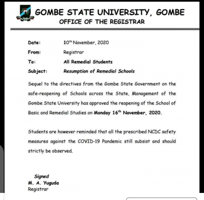 Gombe state university announces resumption for remedial students