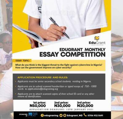 EduGrant 2021 essay competition for SS1-SS3 (worth N100k)