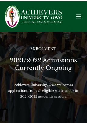 Achievers University Post-UTME 2021: Eligibility and Registration details