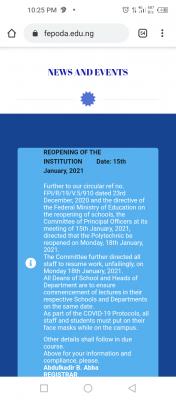 Federal Polytechnic idah resumption date