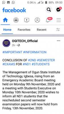 OGITECH notice on conclusion of 2nd semester exams for ND1 students