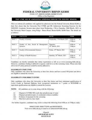FUBK Post-UTME/DE screening exercise for 2020/2201 session