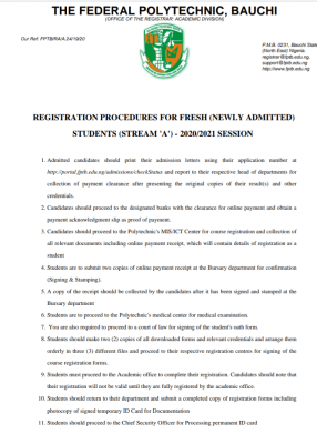 Fed Poly, Bauchi Registration procedures for 2020/2021 newly admitted students