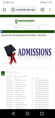 ACEONDO part-time degree 1st batch admission list for 2020/2021 session