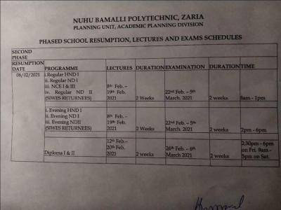 NUBAPOLY announces resumption date for lectures and examination