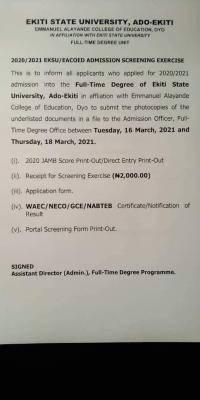 Emmanual Alayande COE degree Post-UTME screening, 2020/2021