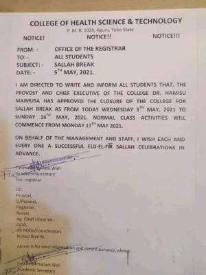 College of Health, Nguru announces Sallah break