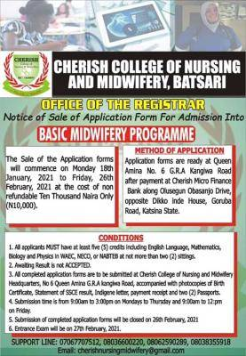 Cherish college of nursing and midwifery admission form, 2020/2021 session