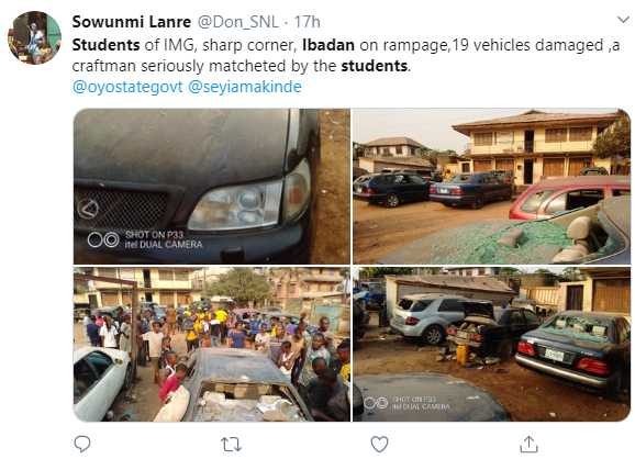 Secondary School Students Clash in Ibadan; One Dead, Cars Vandalized