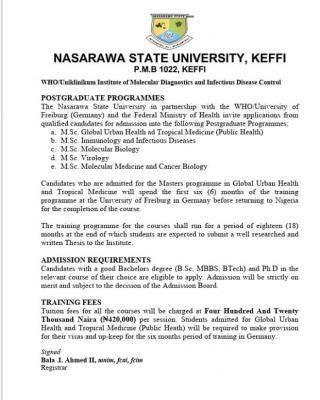 NSUK Postgraduate form into the Institute of Molecular Diagnostics & Infectious Diseases Control