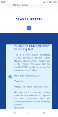 Federal Polytechnic Idah HND screening date for 2020/2021 session
