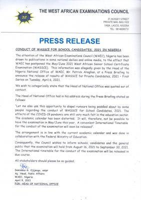 WAEC press release on the conduct of 2021 WASSCE