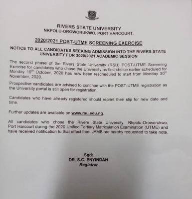 RSUST Post-UTME Notice for 2020/2021 Academic Session
