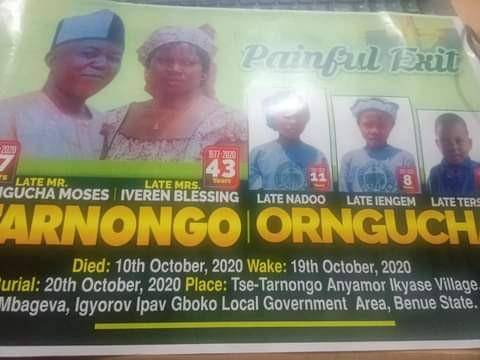 Update; Benue Lecturer, Wife and three Children killed in motor Accident Laid to Rest Amidst Tears