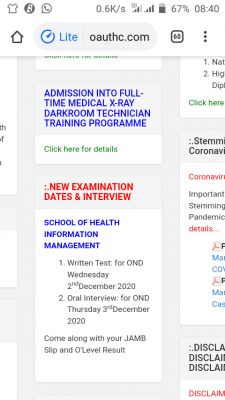 OAUTHC new 2020 entrance exam and interview dates for SHIM