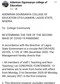 AOCOED issues important notice to staff and students of the institution