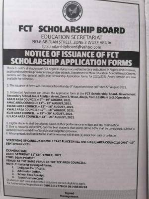 FCT Scholarship Board announces scholarship for all categories of students