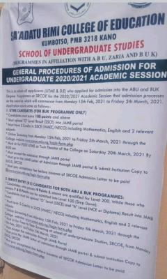 Sa'adatu Rimi College of Education degree programme admission, 2020/2021 session