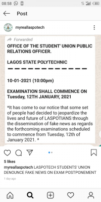 LASPOTECH SUG notice on alleged postponement of exam