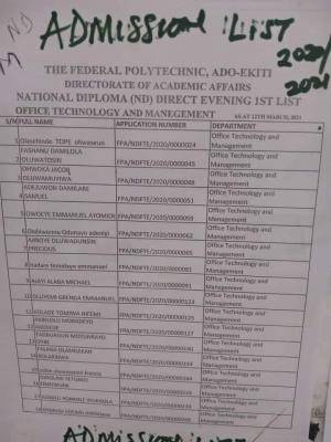 Fed Poly Ado-ekiti ND evening admission list, 2020/2021