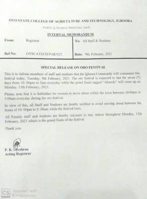 OYSCATECH notice to staff and students