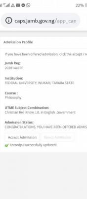 FUWUKARI Admission List