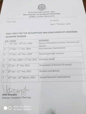 Fed Poly Oko revised academic calendar for 2019/2020 session