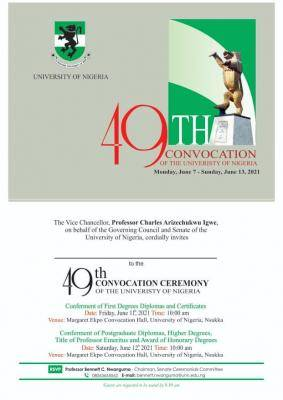 UNN announces events for 49th Convocation Ceremony