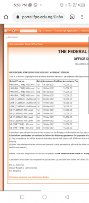 OFFAPOLY 2nd Batch ND Part-time admission list for 2020/2021 session