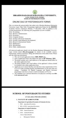 IBBU Postgraduate admission form for 2020/2021 session