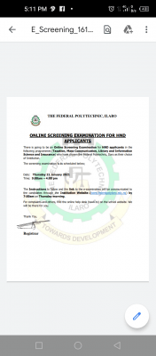 Federal Polytechnic, Ilaro HND online screening exam