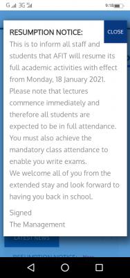 AFIT notice on resumption of academic activities