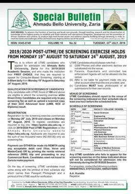 ABU Post-UTME/DE 2019: Cut-off mark, Eligibility, Screening Dates and Registration Details (Updated)