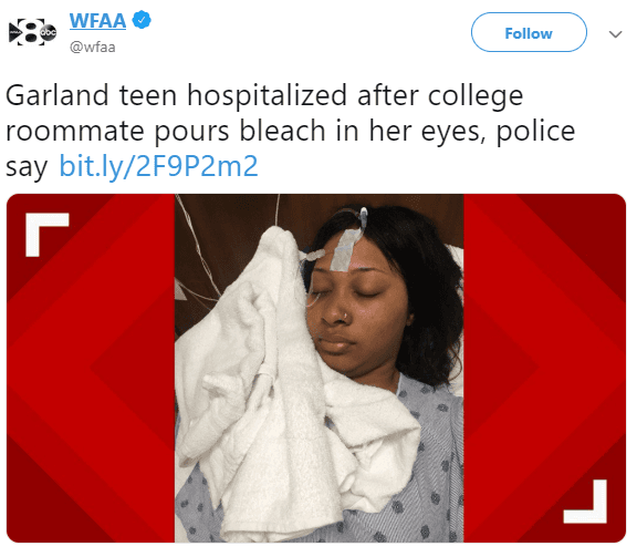 Nigerian Girl Schooling in Texas Arrested for Pouring Bleach in Her Roommate's Eyes