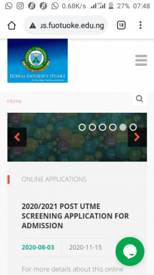 FUOTUOKE Post-UTME 2020 registration deadline