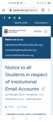 OAU notice to all students in respect of Institutional Email Accounts