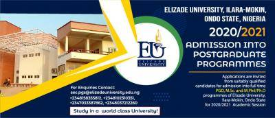 Elizade University Postgraduate Admission Form, 2020/2021