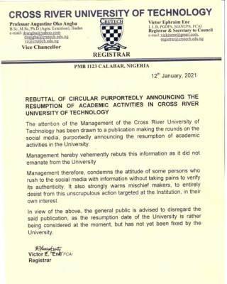 CRUTECH disclaimer notice on purported academic calendar