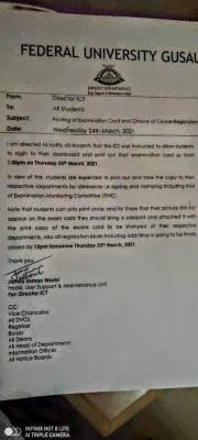 FUGUSAU notice on printing of examination card