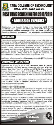 YABATECH Post-UTME 2018: Cut-off mark, Eligibility And Registration Details